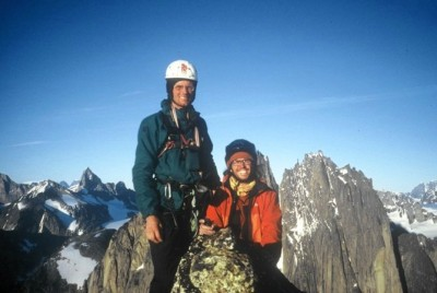 2002. Mårten Blixt, Björn Krane( holding the camera) on the summit of Tininnertup Quaquat after the First Ascent of Quivitoq, VI 7a+ A1