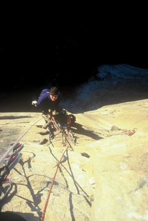 1998. Mårten Blixt belaying on South Pacific, A4, El Capitain, Yosemite Valley, Ca.  The route links South Seas into PO wall and is probably on of the wildest aidclimbs I've ever done. For a few years in the 90ies I was sucked into the game of classic big walling. First trip was in '95 when we climbed The Nose on El Cap with literally no experience at all.